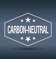 Carbon-neutral hexagonal white vintage retro style vector