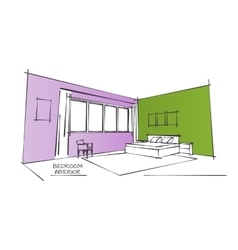 Color interior drawing vector