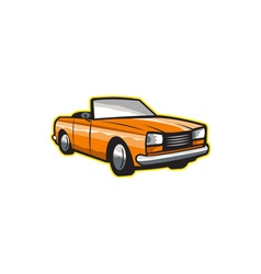 Vintage cabriolet top-down car isolated retro vector