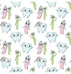 Seamless pattern with cute childish characters - vector