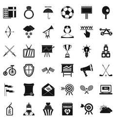 Arrow and bow icons set simple style vector