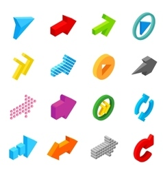 Arrow sign isometric 3d icons vector