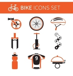 Biking gear icon set vector image