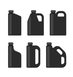 Blank black plastic canisters icons set for motor vector