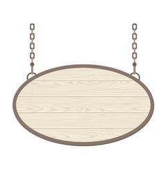 Blank oval wooden signboard hanging on metallic vector