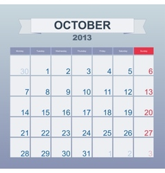 Calendar to schedule monthly october 2013 vector
