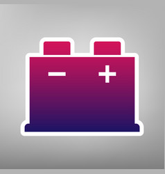 Car battery sign purple gradient icon on vector