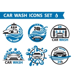 Car wash icons set vector