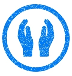 Care hands rounded icon rubber stamp vector