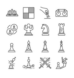 Chess line icon set vector