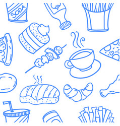 Collection of food doodle style design vector