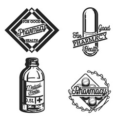 Color vintage pharmacy emblems vector