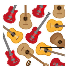 colorful background with electric guitars set vector image
