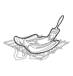 cooking meat on bbq icon outline vector image vector image