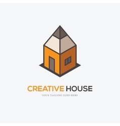 Creative logo with pencil and house vector image