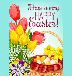Easter basket with eggs and flowers greeting card vector