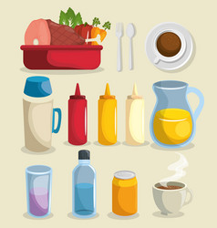food related things icon set vector image