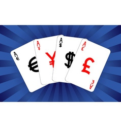 four currency aces vector image vector image