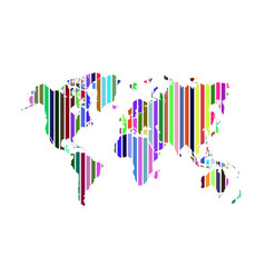 Multicolor stripe world map vector