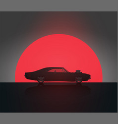 muscle car in sunset silhouette vector image