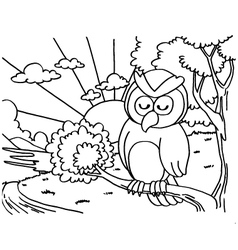 Owls coloring pages vector