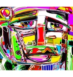 Portrait of a sad man colorful contemporary vector
