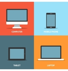 Set of electronic devices flat icons vector image