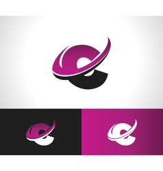 Swoosh alphabet icon c vector