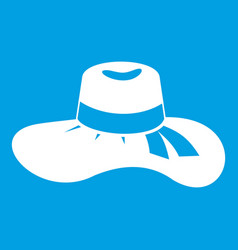 woman hat icon white vector image