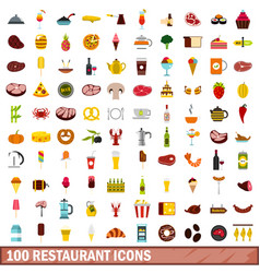 100 restaurant icons set flat style vector image vector image