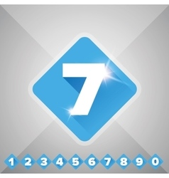 Number set blue - flat design vector