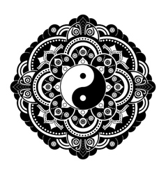 Black and white henna tatoo mandala Yin vector image