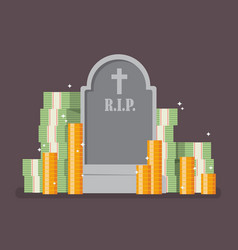 Graveyard with cash money vector