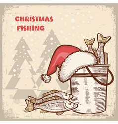 Christmas carddrawing image of successful fishing vector