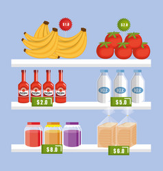 Supermarket shelf with products vector