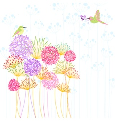 Colorful Hummingbird and Flower vector image