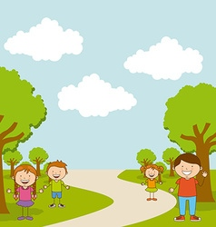 Children in the park vector