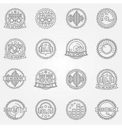 Dj labels or badges vector