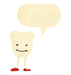 Cartoon smiling tooth with speech bubble vector