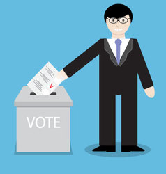 Man businessman votes throwing into box bulletin vector