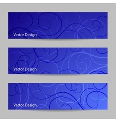 Set of horizontal banners with swirl pattern vector