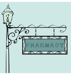 Pharmacy retro vintage street sign vector