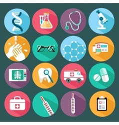 Set of flat design concept icons for medicine vector