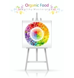 Vegetarian fruit and vegetables rainbow plate on vector