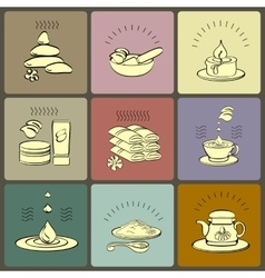 Set spa themed icons vector