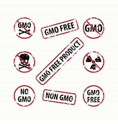 Gmo free stamps set vector