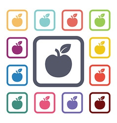 apple flat icons set vector image