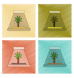 Assembly flat shading style icon tsunami island vector