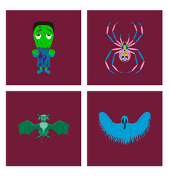 Assembly flat zombie men spider bat vector