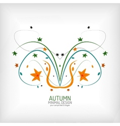 Autumn swirl lines and leaves on white vector image vector image
